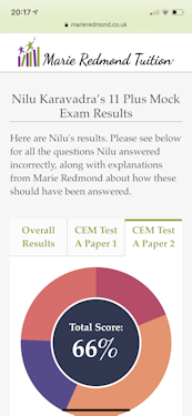 11 plus mock exam results dashboard